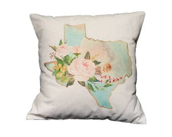 TX Watercolor Floral State Pillow   Cotton Canvas Pillow   Pillow Form Included