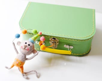 Medium Green Paper Suitcase with Felted Animal