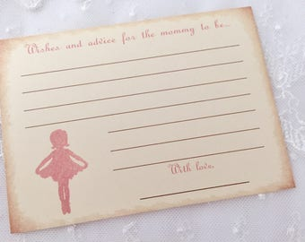 Ballerina Mommy to Be Advice Cards Baby Shower Set of 10