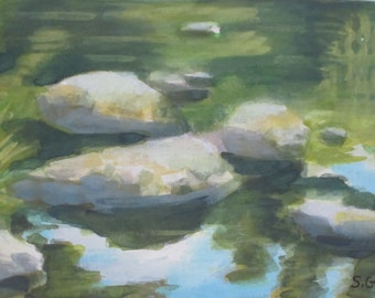 Original Watercolor Painting Mountain Stream With Reflections