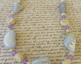 Chunky Chalcedony Crystal And Fossil Coral Beaded Necklace