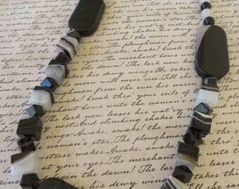 Black And White Striped Agate And Smoky Quartz Beaded Necklace