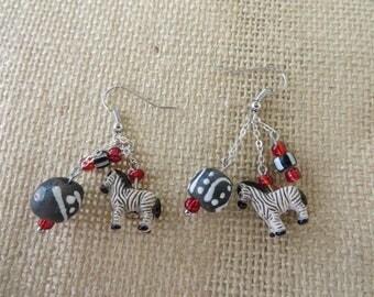 Dangling Clay Zebra And Ghana Glass Beaded Chain Earrings