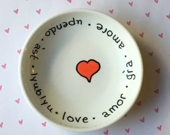 Tiny Text Love Bowl .|. Painted Key Holder .|. Valentine Dish .|.  Engagement Dish .|.  Love in 7 Languages .|.  Minimalist Drawing