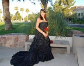 Alternative Black Wedding Dress for Gothic or Halloween Theme Custom Made to your Measurements