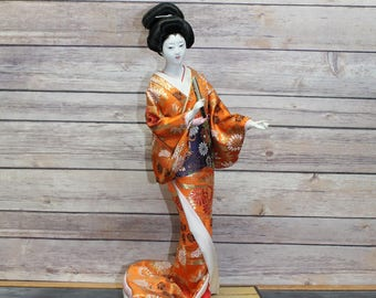 Vintage Japanese Geisha Girl Doll in a Kimono Dress