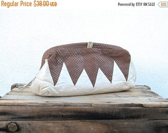 SALE SALE Vintage Brown Chevron Snakeskin and Pearlescent Cream Leather Large Clutch