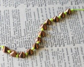 Gold Spiked Neon String Bracelet