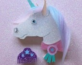 Pretty Ponies -Sparkle The Glitter Unicorn Brooch with Pink Sash and Pastel Rainbow Hair Laser Cut Acrylic Brooch