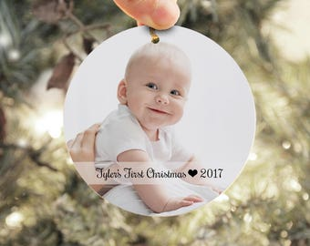 Baby's First Christmas Ornament, Personalized Photo Ornament, Child Christmas Ornament, Baby Picture Ornament, Wood Baby Ornament