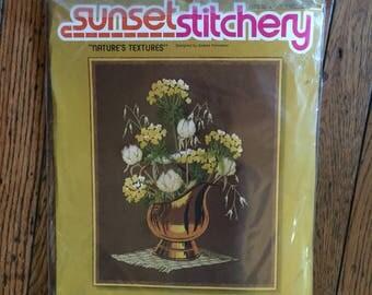 Vintage 1980 Sunset Stitchery Nature's Textures Kit Wool 16 x 20