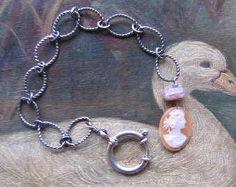 Necklace Extender/Bracelet with Antique Cameo & Sunstone