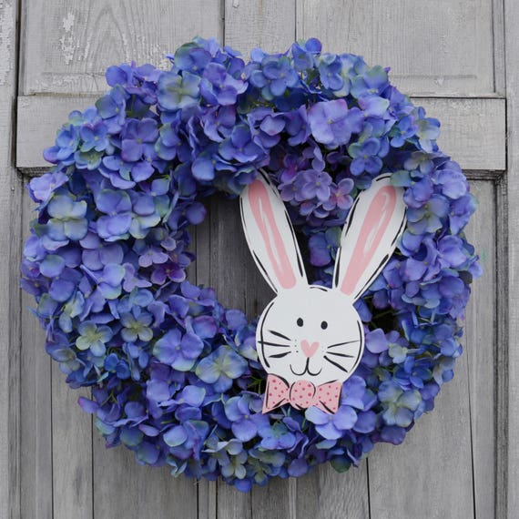 Easter door hanger, Easter Bunny wreath, hydrangea, spring wreath, bunny wreath, spring door hanger