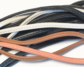 "47-55"" Leather 1/8in Strap Draw String Stitched Suede Black Cream Brown Peach"