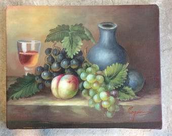 "Fruit and Wine Still Life Painting, 8""X10"""