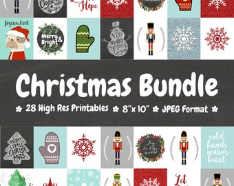 Christmas Wall Art Printable Bundle - 28 JPG Printables 8x10 - Instant Download Holidays Winter Home Decor Deck the Halls Xmas Decor