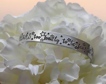 Personalised Cuff Bracelet - Quote Bracelet - Motivational Bracelet - Gift for Her - Hand Stamped Bracelet - Adjustable Cuff Bracelet