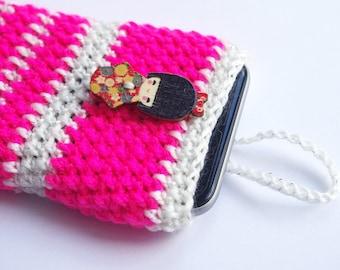 Pink iphone 6 case women's, Crochet iphone 6 sleeve, Asian Phone cover, Geisha doll