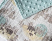 Boys Baby Blanket - Minky Baby Blanket - Woodland Blanket - Bear Baby Blanket - Bear Nursery Decor - Baby Shower Gift - Blue Blanket