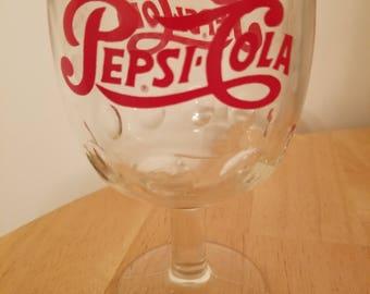 Vintage Pepsi Cola Stem Goblet Glass