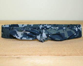 NWU Navy Child Headband with Tie Hairbow Military Blue Digital Camo