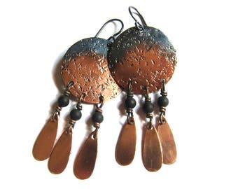 Rustic boho chandelier earrings Big copper disc beaded dangles Bohemian gypsy jewelry Southwest cowgirl niobium earrings