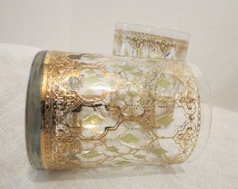 "Gold with Green Diamond Pattern Lowball Glasses 4""H"