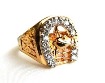 Vintage Men's Gold Plated Horseshoe Rhinestone Ring - Lucky Gambler - Horse Shoe - Size 13