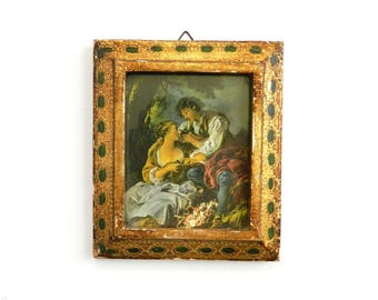 """Antique Italian Gold Florentine Courting Couple Picture - Color Lithograph - Frame Glass - Hand Carved Wood Gold Gilt - 6"""" x 5"""" - Signed"""