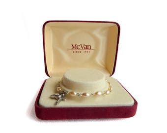 """Vintage Silver Medal & Crucifx Ivory Pearl Bracelet - Youth Child - Religious - Display Gift Box New Old Stock - 6 1/4"""" long - Signed MCVAN"""