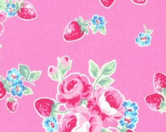 Floral strawberries in pink from the Flower Sugar Berry Fall 2017 fabric collection by Lecien of Japan - 31512L-20