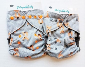 One Size, cloth diaper cover, fleece lined PUL with AI2 option, gray foxes