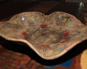 Imprints- Stoneware serving tray bowl