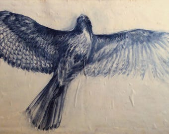 Taking Flight - Original mixed media painting - Hawk, Falcon, Raptor