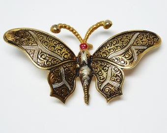 Vintage Damascene Butterfly Brooch - Gold tone, Black and Red - Signed SPAIN - Vintage 1960's Butterflies - Flying Insects  European Jewelry