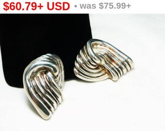 Spring Fling Sale Huge Statement Sterling Silver Earrings - Abstract Knot Signed Electrotermed 925 Runway Clip on Style