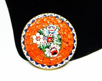 Orange Mosaic Round Brooch - Vintage Floral Design with Trumpet Style Clasp