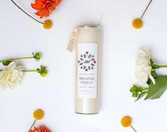BREATHE FREELY Mantra Candle - Lavender + Vanilla - 16 oz - all natural, eco-friendly 100% soy wax candle