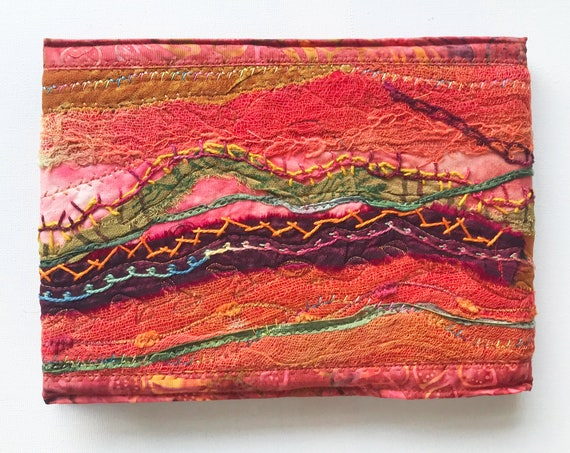 Saharan Sunset Sketchbook A5 Journal - Freestyle Embroidered Notebook -Unique Art Book Sketchbook - Textiles Sewn Embroidered Orange Journal