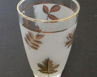 Gold Leaf Frosted Vintage Rounded Tumbler Foiled Maple Leaf Libbey Glass