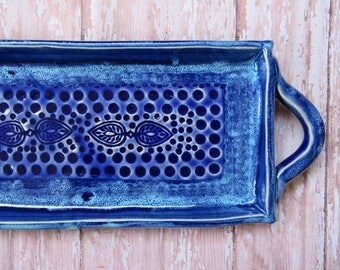 Ceramic Sushi Plate, Ceramic serving tray, clay candle holder,serving plate decoration tray small dish, handmade ceramics and pottery