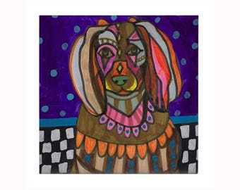 Boykin Spaniel Dog Folk Art Ceramic Tile  Animal Tile Coaster  Modern Unique Gift Colorful Coaster Modern Art