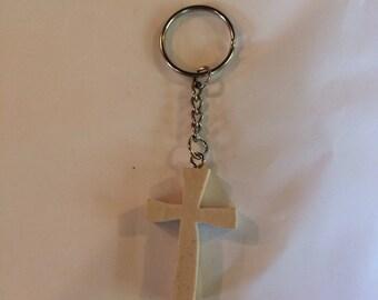 Handmade Wooden Cross KeyChain