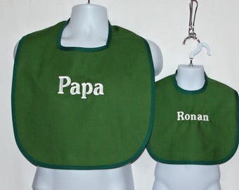 Papa Adult Bib, Matching Baby, Toddler,  Custom Personalized Gift, Grandparent Gag Gift,  No Shipping Fee,  Ships Today, AGFT 1203