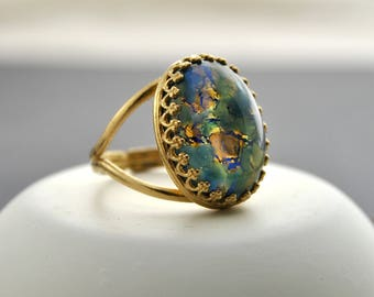 Green And Blue Fire Opal Ring