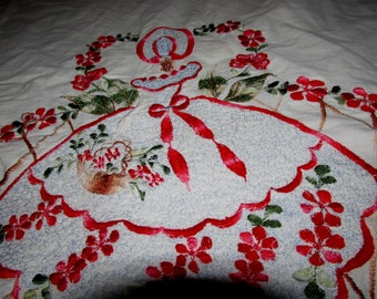 Antique pillowcase hand embroidered large size