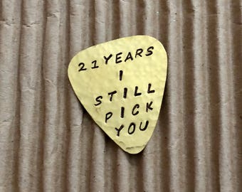 CUSTOM Guitar Pick - Brass Handmade Guitar Pick - Personalized Pick - Gift For Him, Hammered Guitar Pick - Musician Gift - Thank You