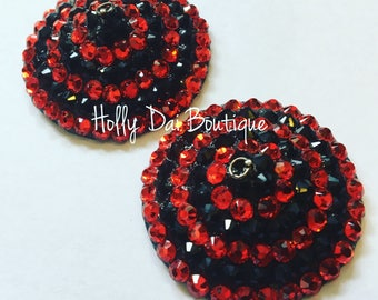 Red and Black Bulleye BURLESQUE couture pasties