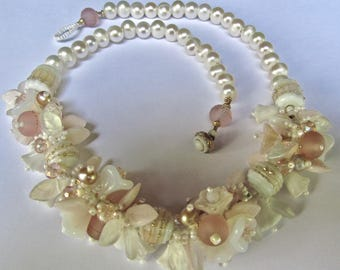 Original Handmade WEDDING Necklace in Whites and Pinks along with SRA Sarah Kloppings Handmade Beads