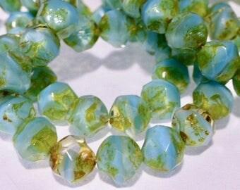 15 Czech Glass Fire Polish Aqua Opal Center Cut with Picasso Finish 9mm size